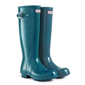 Hunter Tall Gloss Wellington Teal Blue Boots